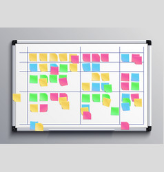 meeting white board with color stickers scrum vector image