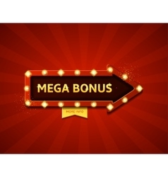 Mega bonus retro banner with glowing lamps vector image