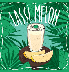 melon indian drink lassi with fresh juice vector image