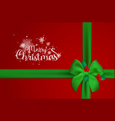 merry christmas typographical on red background vector image