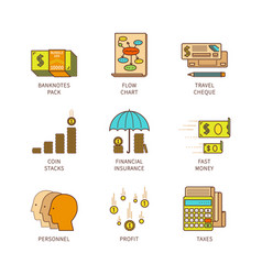 Minimal lineart flat financial iconset vector