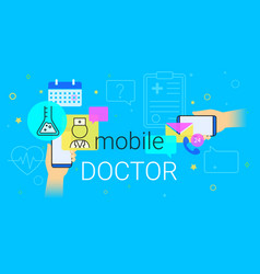 mobile doctor and medicine research results on vector image