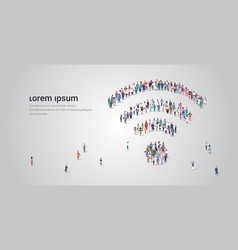 People crowd gathering in shape wifi icon vector