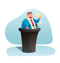 Politician giving speech flat vector