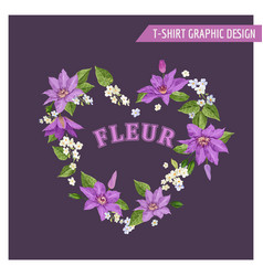 romantic summer floral design clematis flowers vector image