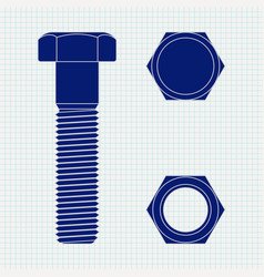 screw head and nut on lined paper vector image