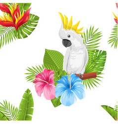 Seamless exotic pattern with parrot cockatoo and vector