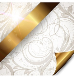 Seamless Floral Wallpaper with Gold Ribbon vector