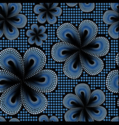 Seamless pattern with blue tiare flower vector