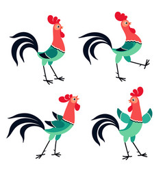 set cartoon rooster in various poses isolated vector image