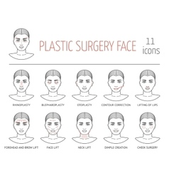 Set of line plastic surgery face icons Flat vector image