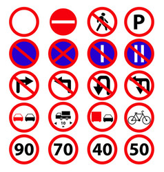 set of the road prohibition signs icons vector image