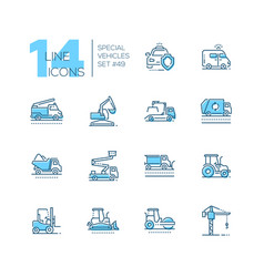 Special vehicles - line design blue icons set vector