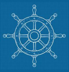 Steering wheel sketch on blueprint grid vector