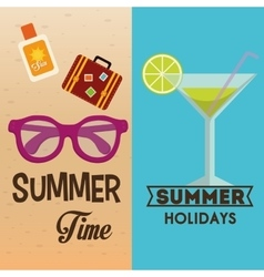 Summer time flyers summer holidays cocktail vector