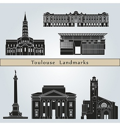 Toulouse landmarks and monuments vector image