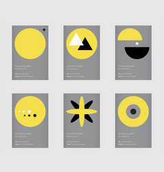 Trendy yellow and gray color swatch minimal vector