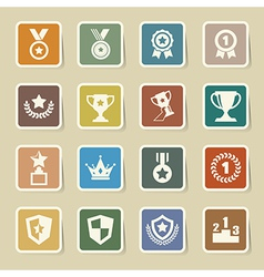 Trophy and awards icons set eps10 vector image
