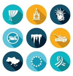 USA Russia conflict Icons Set vector image