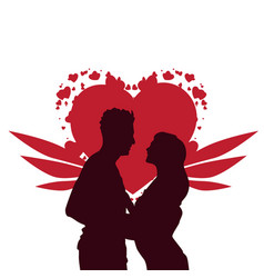 valentine day background silhouette couple vector image vector image