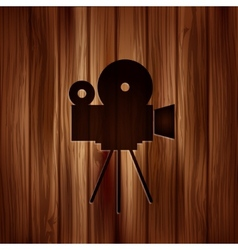 Video camera icon Media symbol Wooden texture vector