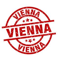 vienna red round grunge stamp vector image