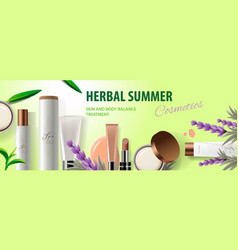 Web banner herbal summer organic cosmetic vector