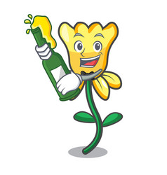 with beer daffodil flower mascot cartoon vector image