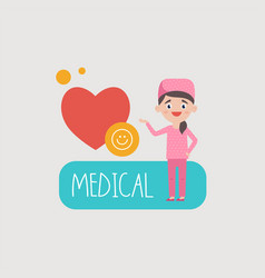 woman doctor at heart and smile vector image