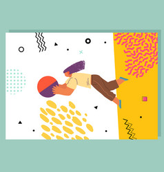 Woman flying in abstract imaginary space vector