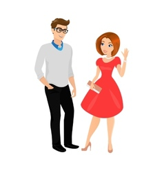 Young man and woman isolated vector image