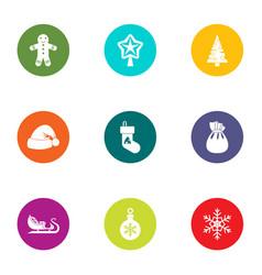 yuletide icons set flat style vector image