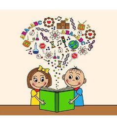 Cartoon children read a book vector image vector image