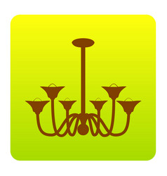 chandelier simple sign brown icon at vector image