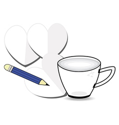 Coffee cup with paper and pencil vector