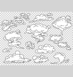 comic book steam clouds set cartoon white smoke vector image