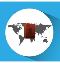 concept globe contact social media vector image vector image