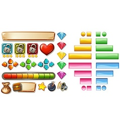 Game elements with buttons and bars vector image vector image