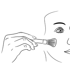 girl gets rouge brush on white background vector image vector image