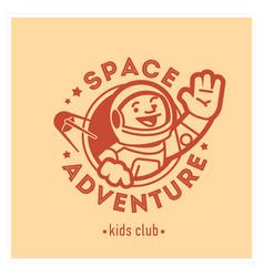 Kids club logo with happy astronaut cute vector