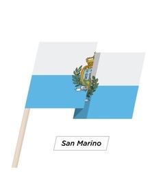 San Marino Ribbon Waving Flag Isolated on White vector image vector image