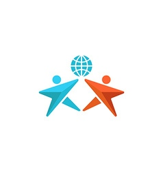Two man logo globe hands up together people vector image vector image
