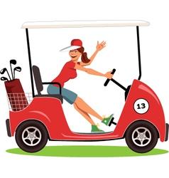 Woman driving a golf cart vector image vector image