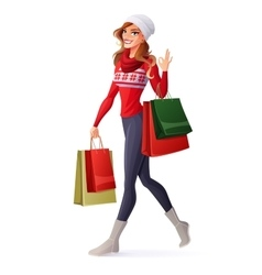 woman in Christmas outfit with shopping vector image vector image