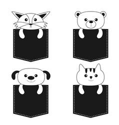 Animals in the pocket Cute cartoon dog bear fox vector image