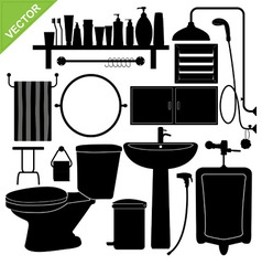 Bathroom silhouette vector image