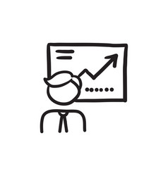 Businessman with infographic sketch icon vector