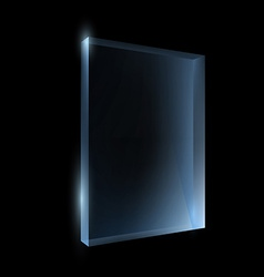 Empty glass box isolated on a black background vector image