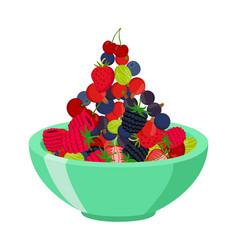 fresh berries in cup berry set in cartoon style vector image vector image