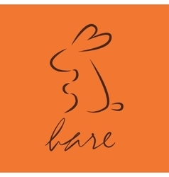 Line icon hare logo vector